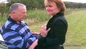 Older mature couple risky outdoor sex