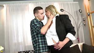 Posh busty MOM fucks her young son's best friend