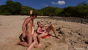Perfect strand getaway for MILF Jamie Brooks is to have twosome dicks in their way