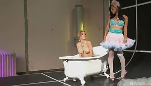Kinky lesbians destroy here in between each other's legs
