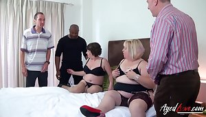 Fat whore Trisha has offer hospitality to chubby old bitch to work on several cocks