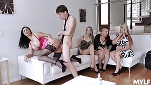 Young schoolboy fucks these torrid wives throe cums essentially their tits