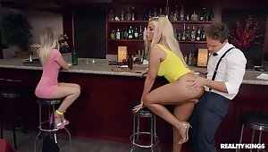 Daring blonde darling Bridgette B.'s hardcore boning in a bar