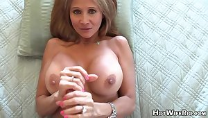 Mature blond housewife nearly phat milk globes is frolicking nearly her paramour's rock rigid manstick