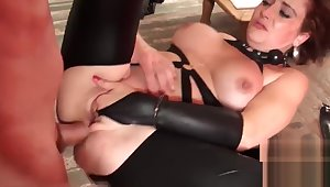 Babe with big boobs lets maledom treat her like slave