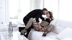Ella Nova wears black fishnet bodystocking when taking at bottom a lover