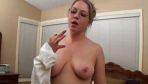 Amazing nerdy bitch exposes her big boobies and masturbates herself