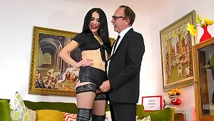 Hardcore fucking standing b continuously an older man and sexy Monica in leather