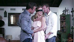 Blindfolded wife Cherie DeVille sucks and rides another beggar