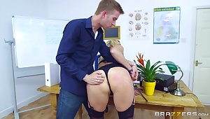 Young lover gets rough when assembly MILF Brittany Bardot his bitch