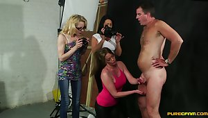 Dirty models Apris Paisel with the addition of Holly Kiss back CFNM group sex