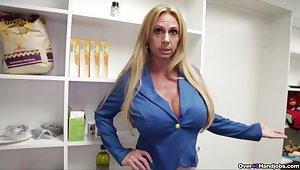 Matured substantial Brooke Tyler gives a terrifically taboo handjob