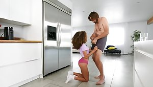 Dusky love gives a blowjob to guy together with then cunnilingus to MILF