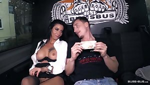 BumsBus - Full-grown German gets plowed in an obstacle backseat of a bus