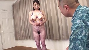Hot busty Japanese adult in home XXX action