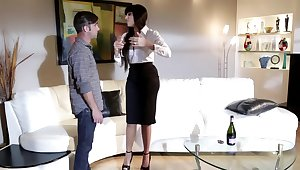 Young guy gets seduced by friend's horny high-class mom