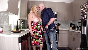 Chubby MILF Karen Fisher gets fucked in be transferred to kitchen apart from a big dick